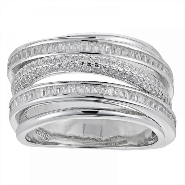 925 Silver Microset and Baguette Ring LRG1031