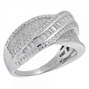 925 Silver Microset Overlap with Baguette Ring LRG1032