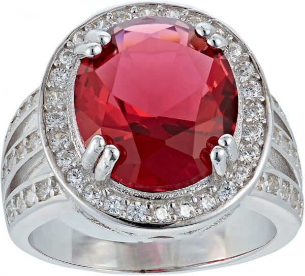 925 Silver Oval Frame with Red Crystal Ring LRG1040