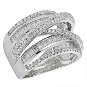 925 Silver Baguette Overlap with CZ Ring LRG1033