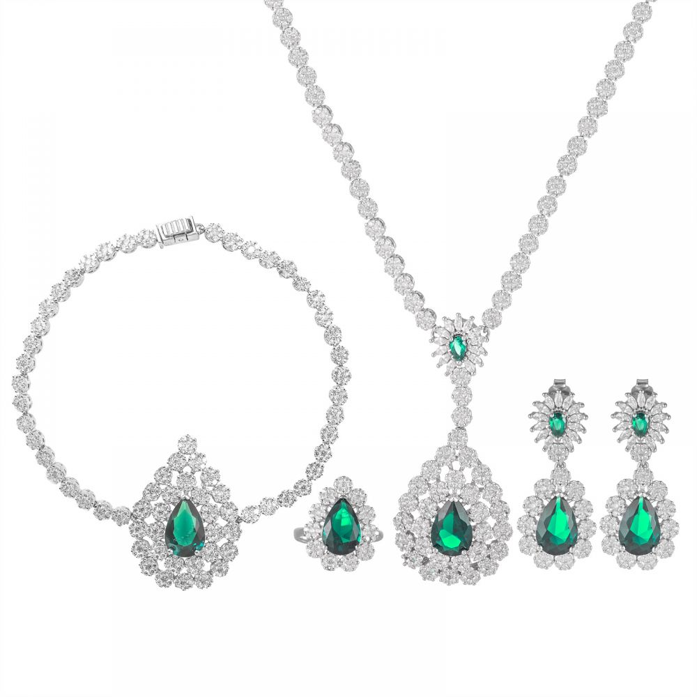 925 Silver Green Drop Flower Full Jewelry Set FS0006