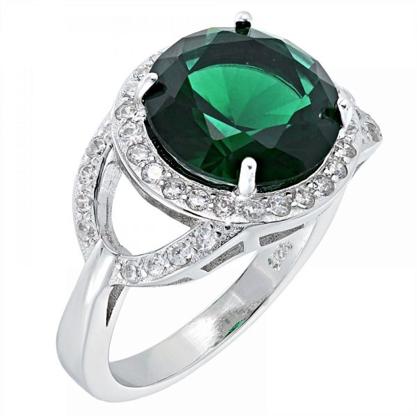 925 SIlver Round Frame with Green Crystal Ring LRG1041