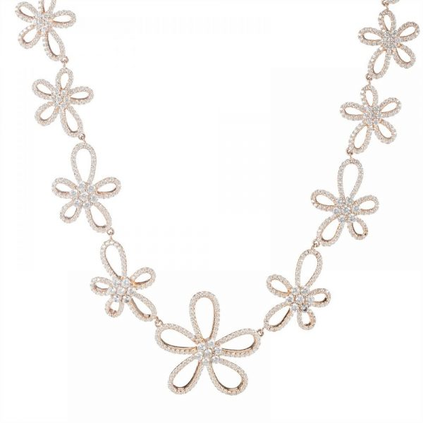 925 Silver Rose Gold Plated Flower Full Jewelry Set FS0002