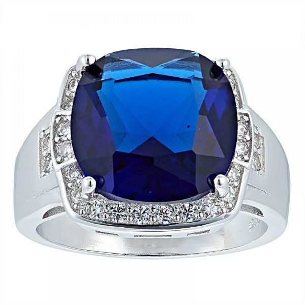925 Silver Square Frame with Blue Crystal Ring LRG1036