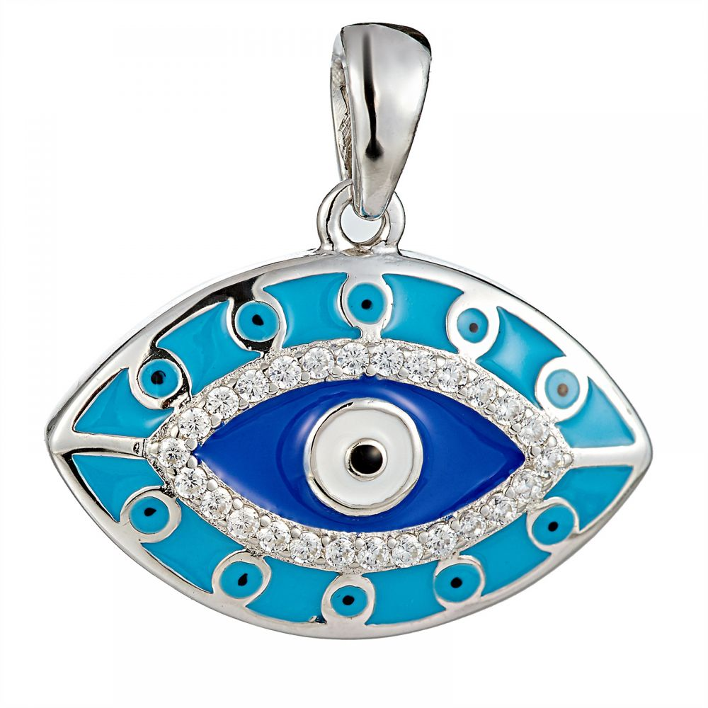 925 Silver Evil Eye Enamel with CZ Pendant PD0001