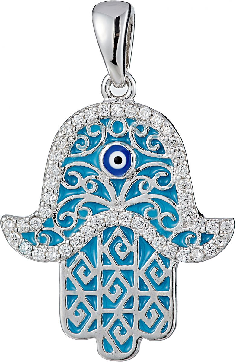 925 Silver Light Blue Enamel Abstract Pattern Fatima Hand Pendant PD0008
