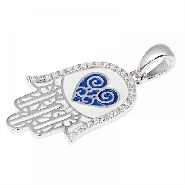 925 Silver White Enamel Fatima Hand with Heart Pendant PD0002