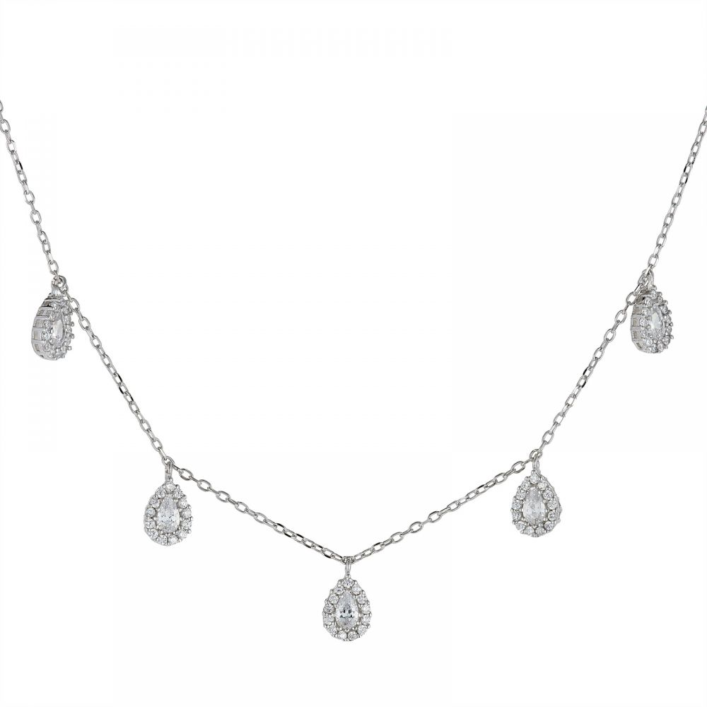 925 Silver CZ Teardrop Necklace NK1002