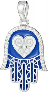 925 Silver Dark Blue Enamel Fatima Hand with Heart Pendant PD0003
