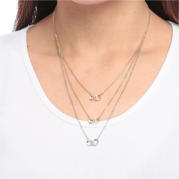 925 Silver Infinity Tricolor CZ Necklace NK1018