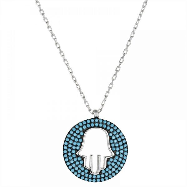 925 Silver Fatima Hand with Turquiose Necklace NK1011