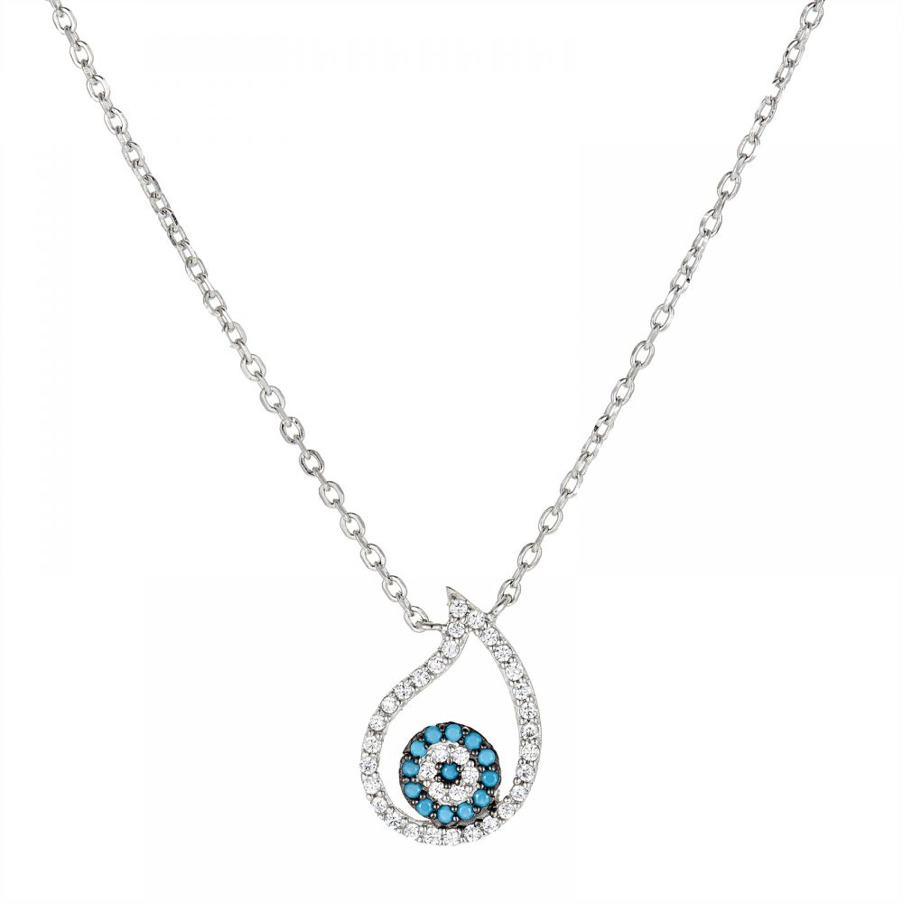 925 Silver Drop Evil Eye Necklace NK1004