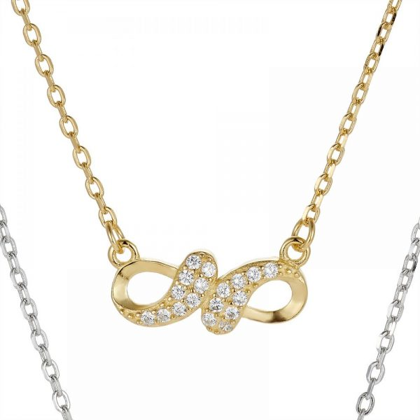925 Silver Infinity Tricolor CZ Necklace NK1019