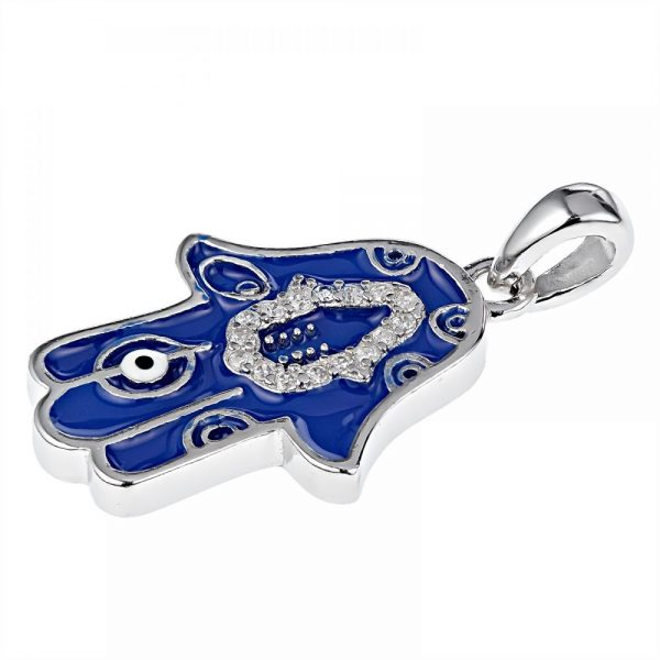 925 Silver Dark Blue Enamel Fatima Hand with CZ Pendant PD0016