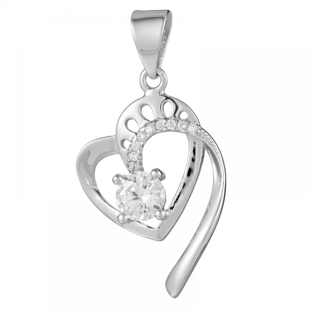 925 Silver Heart with Crystal Pendant PD0024