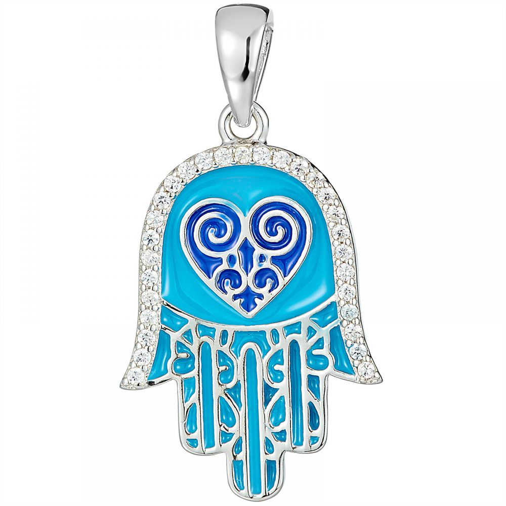 925 Silver Light Blue Enamel Fatima Hand with Heart Pendant PD0004