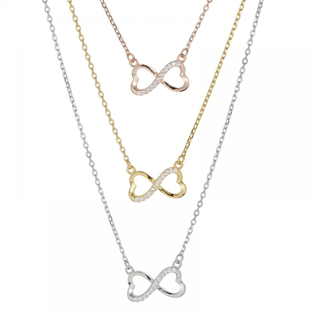 925 Silver Heart Infinity Tricolor CZ Necklace NK1020