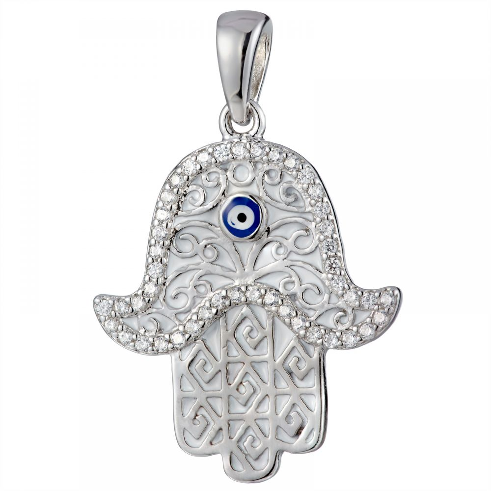 925 Silver White Enamel Abstract Pattern Fatima Hand Pendant PD0009