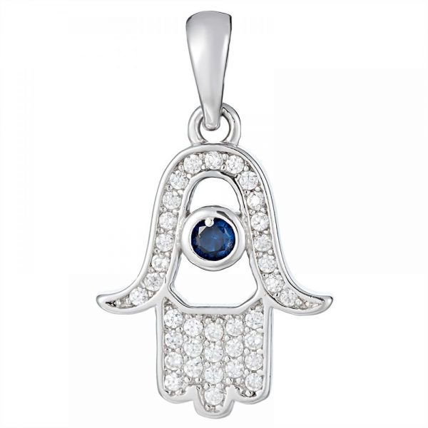 925 Silver Fatima Hand with Blue Crystal Pendant PD0017
