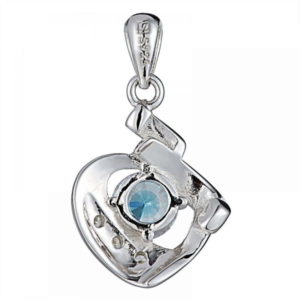 925 Heart with Blue Crystal Pendant PD0025