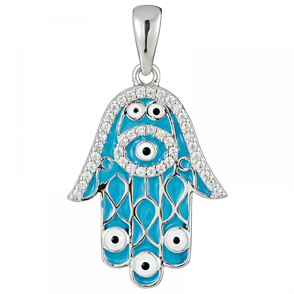 925 Silver Light Blue Enamel Fatima Hand Tip Evil Eye Pendant PD0006