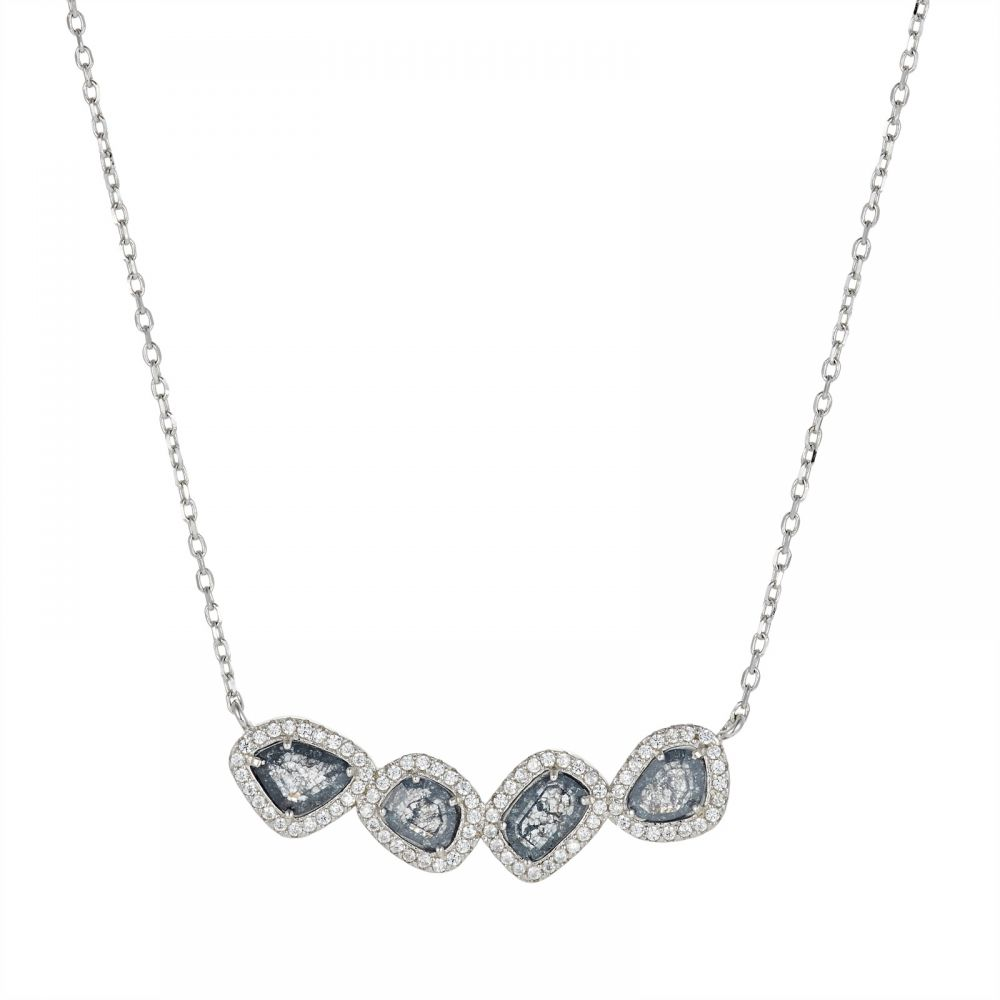 925 Silver CZ Color Stone Necklace NK1007