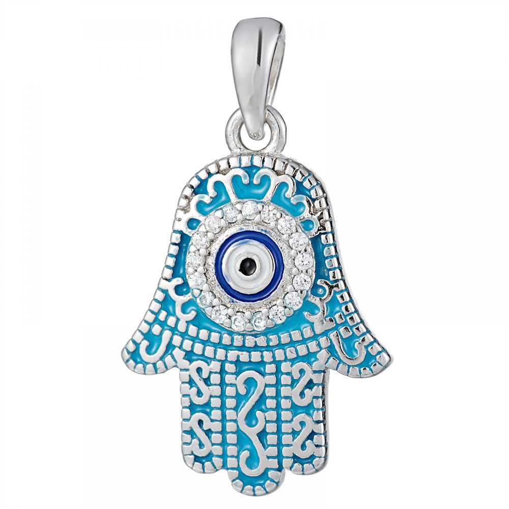 925 Silver Light Blue Enamel Fatima Hand Round Evil Eye Pendant PD0011