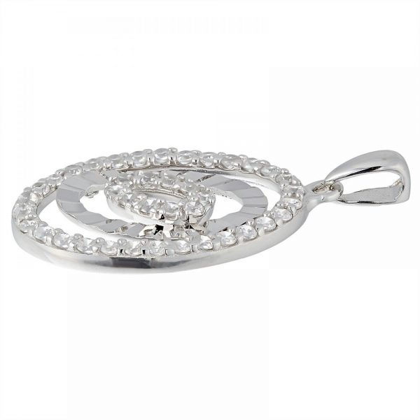 925 Silver Oval Frame with CZ Pendant PD0029