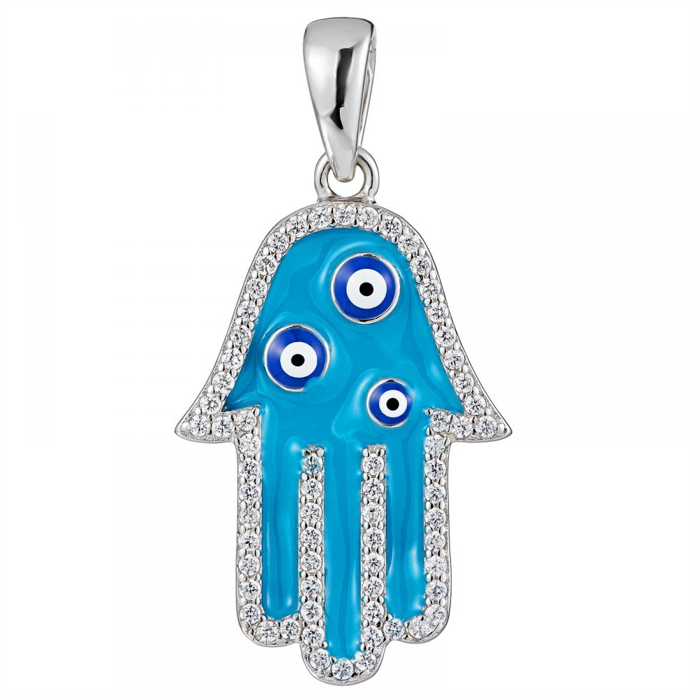 925 Silver Light Blue Enamel Fatima Hand Palm Evil Eye Pendant PD0014